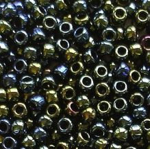 Toho 8/0 Seed Beads Metallic Green Brown Iris 84 - 10 grams